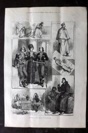 ILN 1880 Antique Print. Sketches in Russia: Popular Life and Manners